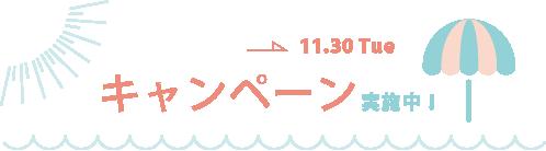 11/30までキャンペーン実施中!
